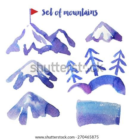 Mountain's set - stock vector
