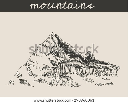 Mountain scenery sketch hand drawing, in engraving style, for extreme climbing sport, adventure travel  and  tourism design