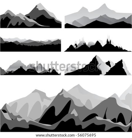mountain set - stock vector