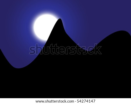 Mountain silhouette at night - stock vector