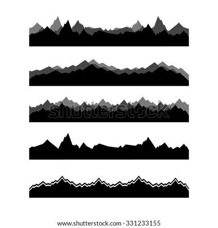 Mountain Silhouette mountains landscape silhouette set abstract high stock vector