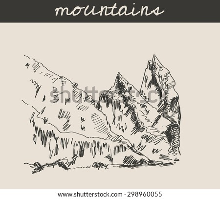 Mountain sketch hand drawing, in etching style, for extreme climbing sport, travel  and  tourism design