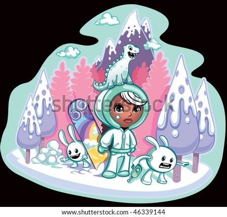Mountain Ski slope and girl with little critters on an adventure - stock vector