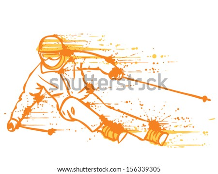 Mountain skier on a high speed rides. Hand drawn graffiti style. - stock vector
