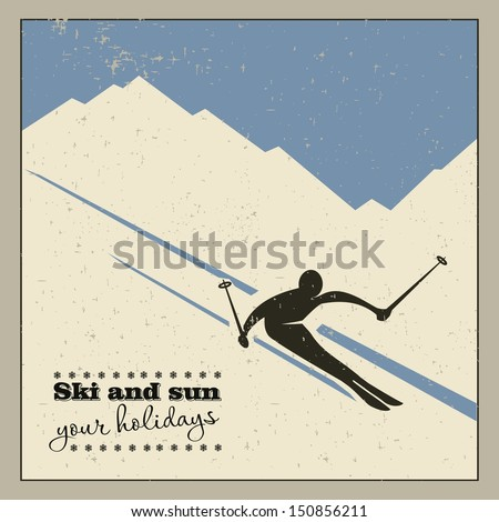 mountain skier slides from the mountain. - stock vector