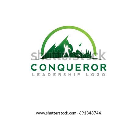 mountain snow high view hiking conqueror stock vector 691348744