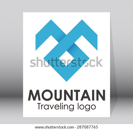 Mountain traveling simple line art ribbon logo element design vector symbol icon shape abstract - stock vector