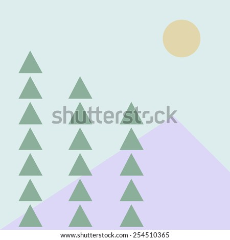 mountain trees and the moon landscape - stock vector