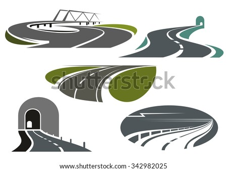 Mountain tunnels, highways, overpass road with bridge and winding bypass rural roads. Icons for travel or transportation themes - stock vector