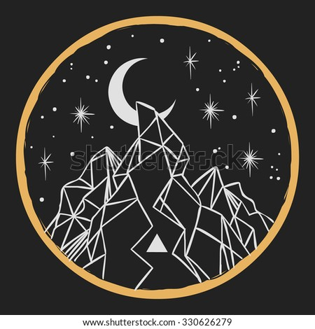 Mountain under starry sky. Vector template in boho style - stock vector