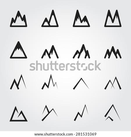 mountain vector icons - stock vector