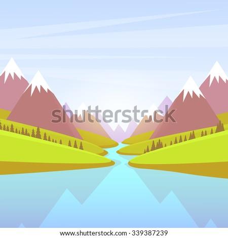 Mountain Water River Landscape Forest Green Park Blue Sky Flat Vector Illustration - stock vector