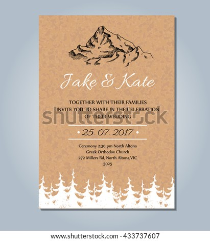 Mountain wedding invitation vector rustic card stock vector royalty mountain wedding invitation vector rustic card template wedding card sketch illustration with mountain and stopboris Images