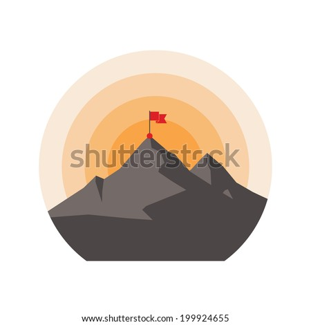 Mountain with flag on the peak. Icon. - stock vector