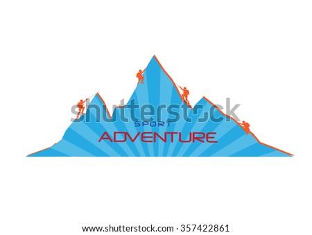 Mountaineer climb a mountain. Vector illustrations - stock vector