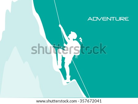 Mountaineer climbing on the rock,vector illustrations - stock vector