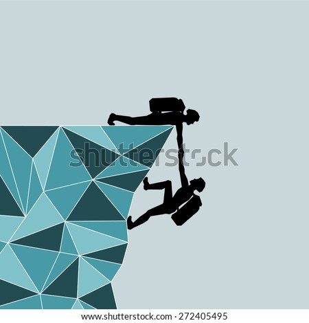 Mountaineer draws more on the mountain. Help. Salvation. Rescuer. Vector illustration scale of any size. All elements are grouped. - stock vector