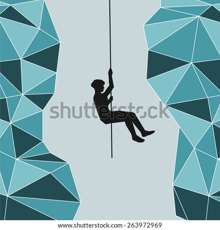 Mountaineer hanging on a rope over an abyss - stock vector