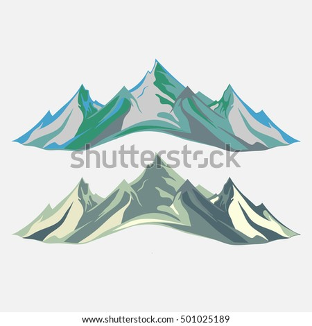 Mountaineering and Traveling Vector Illustration. Landscape Mountain Peaks. Extreme Sports, Vacation and Outdoor Recreation, flat design