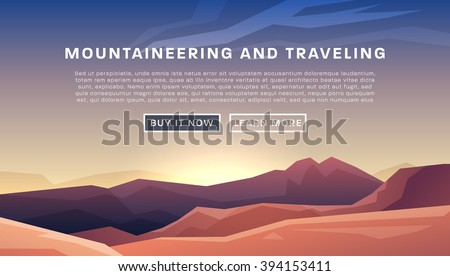 Mountaineering and Traveling Vector Illustration. Landscape with Mountain Peaks. Extreme Sports, Vacation and Outdoor Recreation Concept. - stock vector