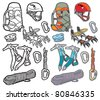 Mountaineering Icons Vector icon illustration of a selection of mountain sport accessories and equipment. Layered file for easy editing. Why not check out my portfolio? - stock vector