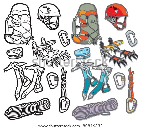 Mountaineering Icons Vector icon illustration of a selection of mountain sport accessories and equipment. Layered file for easy editing. Why not check out my portfolio?