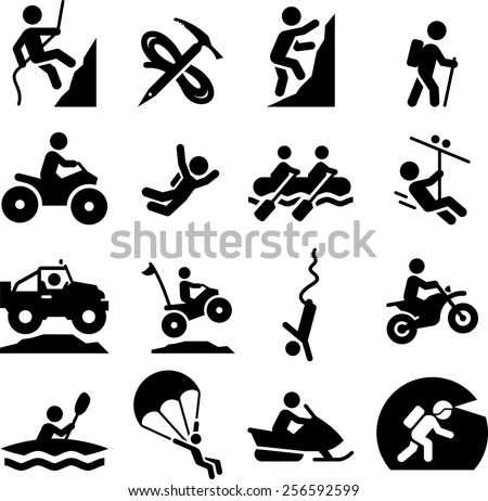 Mountaineering, rafting, climbing, off-road and other adventure icons.  - stock vector