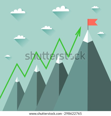 Mountaineering Route. Goal Achievement or Success Concept. Mountains with snow and red flag on the top, sky and clouds on background. Vector colorful illustration in flat style - stock vector