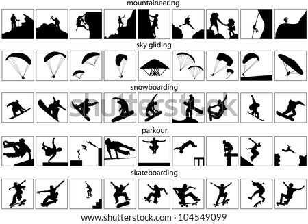 Mountaineering, sky, gliding, snowboarding, parkour, skateboarding. Vector silhouettes isolated on white