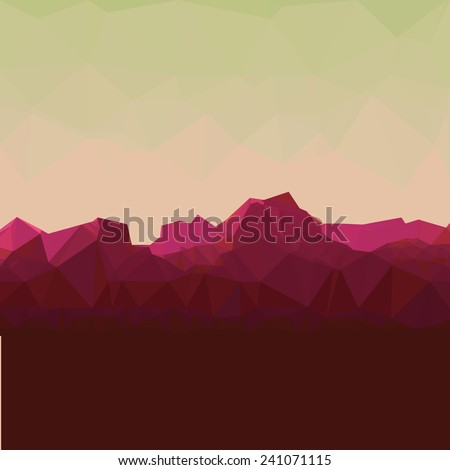 Mountainous terrain, polygonal background, vector illustration.  - stock vector