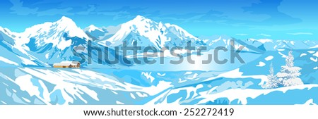 Mountains and lake winter landscape. EPS 10 format. - stock vector