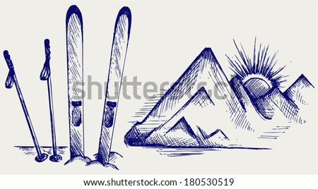 Mountains and ski equipments. Doodle style - stock vector