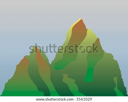 mountains and sky - stock vector
