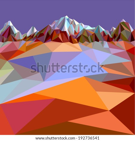 Mountains background in colour (illustration of a many triangles)  - stock vector