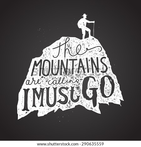 Mountains calling label. Hiker silhouette lettering chalk on board. Vector illustration - stock vector