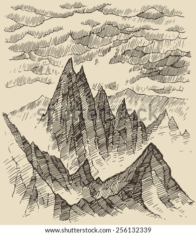 Mountains, contours of the mountains engraving vector illustration, hand drawn, sketch