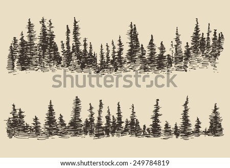 Mountains, contours of the mountains with fir forest engraving vector illustration, hand drawn, sketch - stock vector