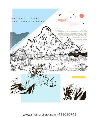 Mountains, hand drawn vector illustration. Art poster.