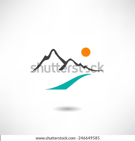 Mountains icon - stock vector