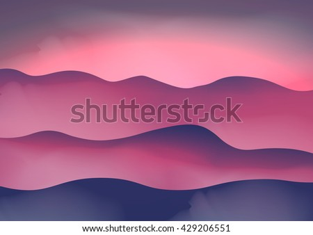 Mountains in the Fog at Sunset - Vector Illustration - stock vector