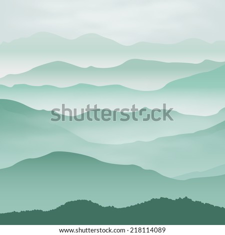 Mountains in the fog. Background. EPS10 vector. - stock vector