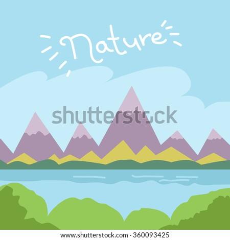 mountains river forest summer nature landscape vector illustration - stock vector
