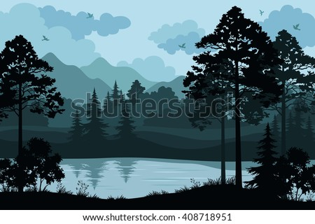 Mountains, Trees and River - stock vector