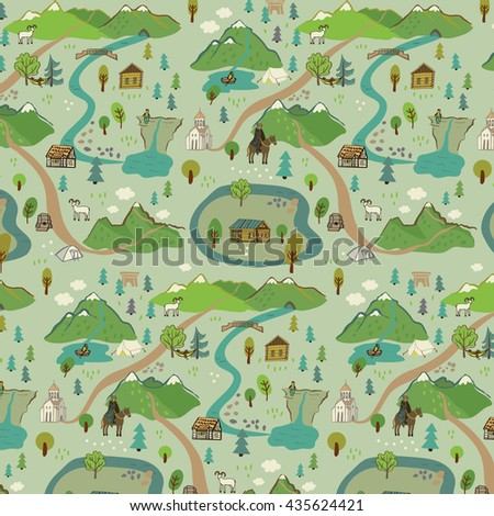 mountains trip vector pattern