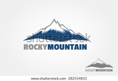 Mountains vector logo, isolated on white background. It's try to symbolize a power and strength, it's good for adventure product or other adventure activity. - stock vector