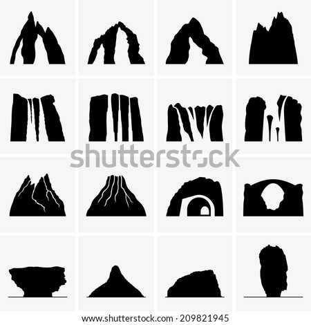Mountains, waterfalls, volcanoes, islands - stock vector
