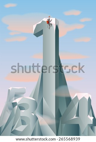 mountains with numbers shape with a mountaineer climbing at the top - stock vector