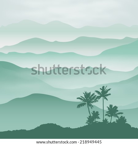 Mountains with palm tree in the fog. Background. EPS10 vector. - stock vector