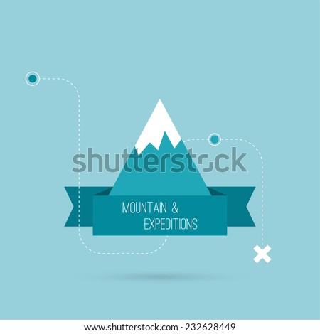 Mountains with ribbon for text and traffic schemes. Vector icon. Logo. Hiking, climbing, travel, expedition. Investigation of the Wild - stock vector