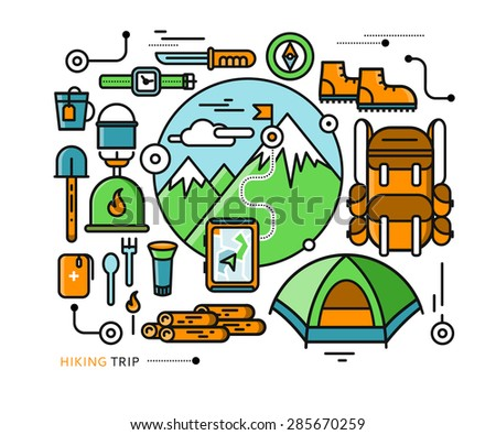 Mountains with snow peaks and tourist equipment. Hiking trip. Mountaineering. Travel. Stroke icons for web design, analytic, graphic design and in flat design - stock vector